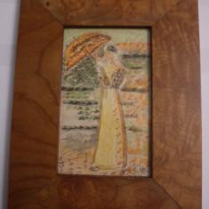 TABLOU VECHI INRAMAT-ACUARELA-SEMNAT-PISTELLE-D=23X17 CM - Pictor strain, Portrete, Art Nouveau