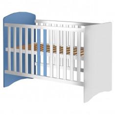 Patut Copii Din Lemn Hubners Anne 120X60 Cm Alb-Albastru - Patut lemn pentru bebelusi