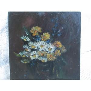 Flori de camp,  pictura veche in ulei