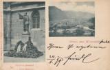 BRASOV , SALUTARI DIN BRASOV , STATUIA  J. HONTERUS ,PANORAMA , CIRC. AUG.*899, Circulata, Printata