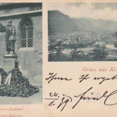 BRASOV, SALUTARI DIN BRASOV, STATUIA J. HONTERUS, PANORAMA, CIRC. AUG.*899 - Carte Postala Transilvania pana la 1904, Circulata, Printata