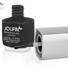 Oja speciala Jolifin pt matrita ce se aplica cu stampila, antracit 12 ml - Lac de unghii