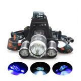 Super Lanterna Frontala performanta Boruit cu 3 LED T6 + 6 acumulatori CADOU