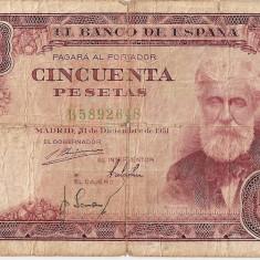 SPANIA 50 PESETAS 1951 U - bancnota europa