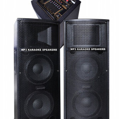 MEGA SISTEM 2 BOXE ACTIVE 500WATT 4 DIFUZOARE BASS,MIXER,MP3 PLAYER USB,KARAOKE.