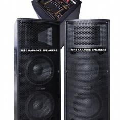 MEGA SISTEM 2 BOXE ACTIVE 500WATT 4 DIFUZOARE BASS,MIXER,MP3 PLAYER USB,KARAOKE.