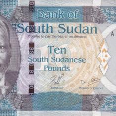 Bancnota Sudanul de Sud 10 Pounds 2011 - P7 UNC