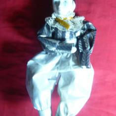 Papusa Arlechino-cap, maini, picioare portelan, h= 22 cm - Papusa de colectie