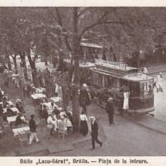 BAILE ''LACUL-SARAT'', BRAILA . PIATA DE LA INTRARE, CIRCULATA IUN.''925 - Carte Postala Muntenia dupa 1918, Printata
