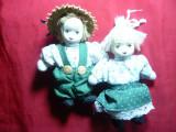 2 Papusi vechi cu cap de portelan- Fetita si Baietel - Germania