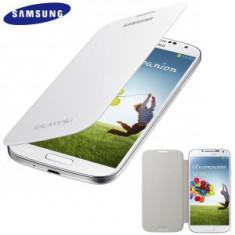 Husa Samsung Galaxy S4 IV i9500/i9505 Piele Eco cu Capac spate Alb Alba Flip - Husa Telefon Samsung, Cu clapeta