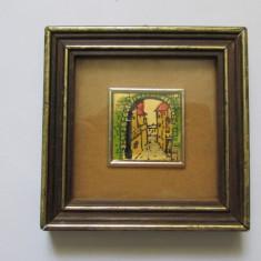 2-TABLOU-inramat, sticla de protectie, cromolitografie, semnat, vintage - Arta din Metal