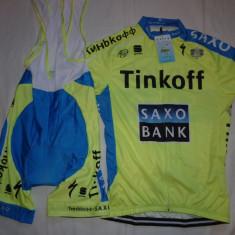 Echipament ciclism complet Tinkoff saxo bank set pantaloni tricou