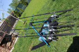 Set 3 Lansete Wind Blade 2,1 Metri Epoxy 60-120 Grame  + 3 Mulinete EGR 60