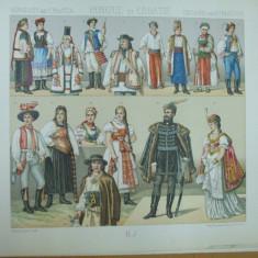 Ungaria si Croatia costume maghiari iugoslavi Dunare Carpati cromolitografie - Carte veche