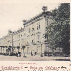 SALUTARI DIN ALBA IULIA PAVILIONUL OFITERILOR CLASICA CIRCULATA 1903 - Carte Postala Transilvania pana la 1904, Printata