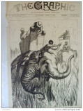 Grafica 1 aprilie 1876  The Graphic vanatoare elefanti Terai India print Wales