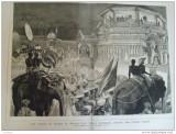 Grafica  1876 The Graphic Ceylon elefanti palat print Wales Kandy Perehara