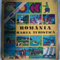 ROMANIA HARTA TURISTICA 1972 - 31 DE PAGINI CU ILUSTRATII SI HARTI