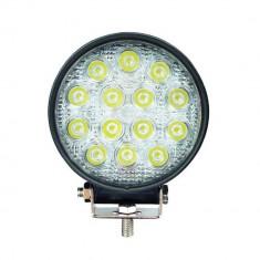 Proiector LED Auto Offroad 42W 12V-24V, 3080 Lumeni, Rotund, Flood Beam 60°, Universal