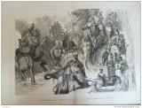 Grafica 8 aprilie  1876 The Graphic vanatoare elefanti Terai India print Wales