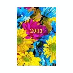 2015: Kalender/Terminplaner: 1 Woche Auf 2 Seiten, Format CA. A5, Cover Blumen - Carte in engleza