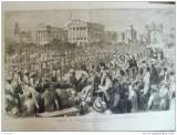 Grafica 22 ianuarie  1876 The Graphic print Wales Calcutta India palat cai