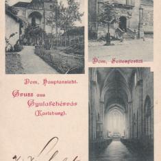 ALBA IULIA, SALUTARI DIN ALBA IULIA (GYULAFEHERVAR, KARLSBURG) CIRC. 1898 - Carte Postala Transilvania pana la 1904, Circulata, Printata