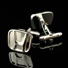 Butoni tema auto honda metalici argintii + cutie simpla cadou