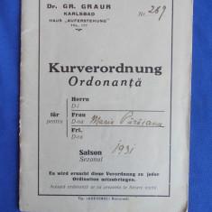 CARNET ORDONANTA ( KURVERORDNUNG ) * ISVOARELE DIN KARLSBAD - 1931