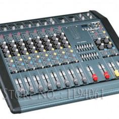 MIXER AUDIO PROFESIONAL AMPLIFICAT DE PUTERE, 12 CANALE, 1300 WATT, MP3 PLAYER USB