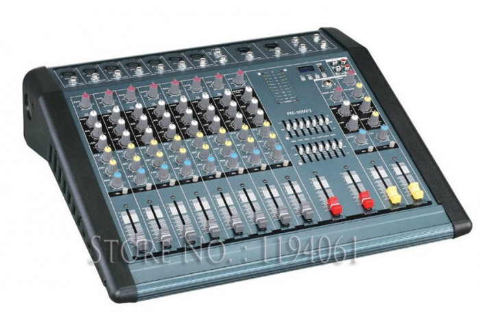 MIXER AUDIO PROFESIONAL AMPLIFICAT DE PUTERE,12 CANALE,1300 WATT,MP3 PLAYER USB