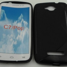 Toc silicon S-Case Alcatel Pop C7 Negru - Husa Telefon