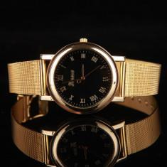 Ceas unisex tip Fashion Geneva gold curea metalica unisex + cutie simpla cadou