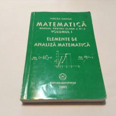 MATEMATICA - MANUAL PENTRU CLASA a XI-a - ANALIZA Mircea Ganga, RF5/1 - Manual scolar mast, Clasa 10, Mathpress
