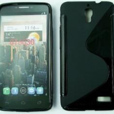Toc silicon S-Case Orange San Remo / Alcatel One Touch Idol OT-6030D Negru - Husa Telefon