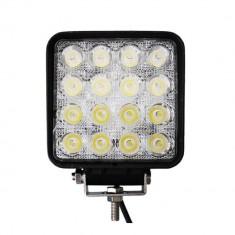 Proiector LED Auto Offroad 48W 12V-24V, 3520 Lumeni, Patrat, Flood Beam 60°, Universal