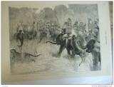 Grafica 1876  The Graphic vanatoare Terai India print Wales elefant tigru