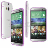 Bumper husa silicon transparenta margine bumper mov purple HTC ONE 2 M8 + folie, Alt model telefon HTC, Verde