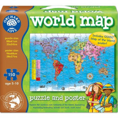 Puzzle orchard toys Si Poster Harta Lumii (Limba Engleza 150 Piese) World Map Puzzle orchard toys & Poster