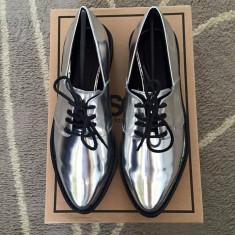 Pantofi dama argintii, 36.5, Argintiu, Cu talpa joasa, Asos