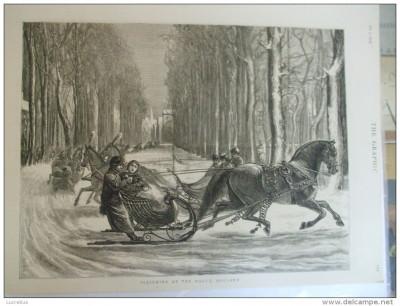 Grafica 5 februarie 1876 The Graphic sanie cai derdelus iarna Haga Olanda foto
