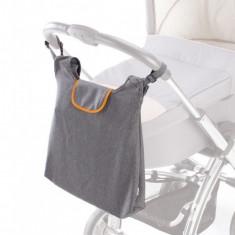 Geanta Gri - Portocaliu Cu Clip Pentru Carucior Si Umar - Geanta plimbare copii
