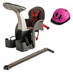 Scaun De Bicicleta Si Casca Protectie Flames Roz Weeride Wr01r - Accesoriu Bicicleta