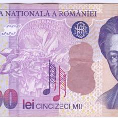 Bancnota 50.000 lei 2000 ( 50000 lei 2000 ) George Enescu Sfinxul Bucegi VF+(5) - Bancnota romaneasca