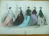 Moda costum rochii palarii manusi moda pariziana plansa color