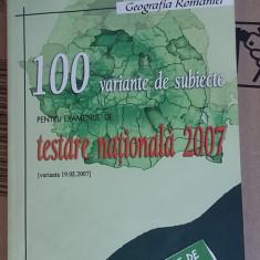 TESTARE NATIONALA 100 DE VARIANTE SUBIECTE GEOGRAFIA ROMANIEI - Carte Teste Nationale, Art