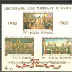 Romania 1968 - SEMICENTENAR MAREA UNIRE, colita nestampilata AF20, Nestampilat