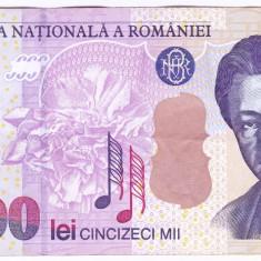 Bancnota 50.000 lei 2000 ( 50000 lei 2000 ) George Enescu Sfinxul Bucegi VF+(4) - Bancnota romaneasca
