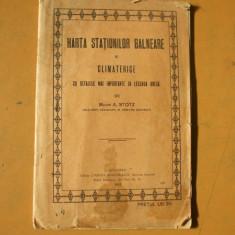 Harta statiunilor balneare si climaterice Bucuresti 1922 A. Stolz harta color - Harta Romaniei